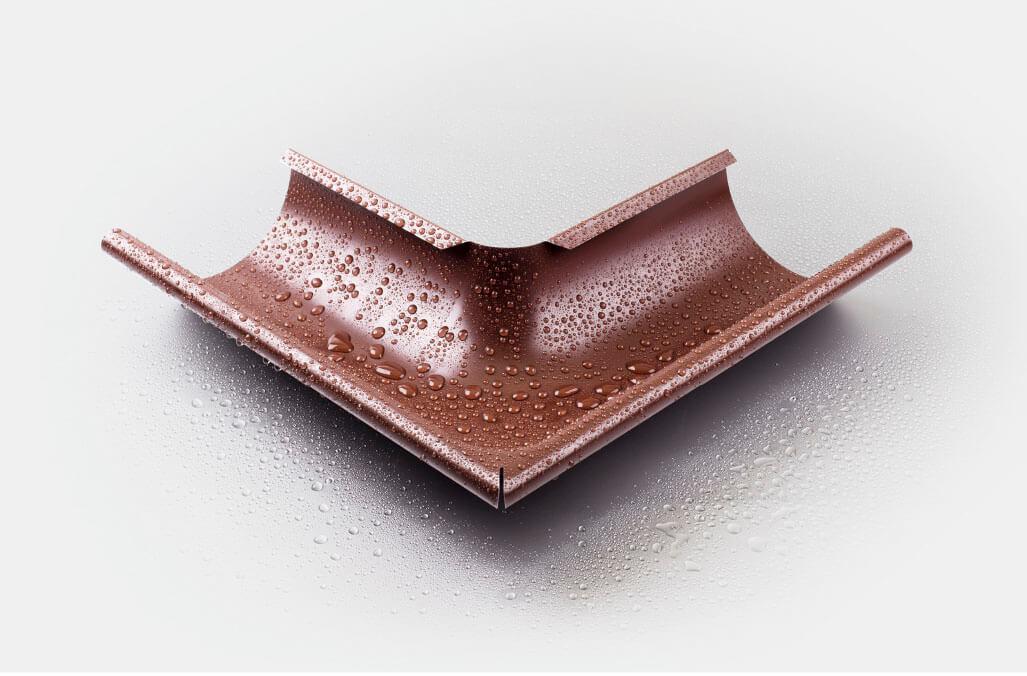 Угол желоба внешний 90 гр 125/100 мм RAL 8017 шоколад
